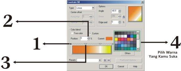 desain teks atau tulisan berwarna warni