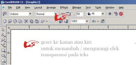 Memberi efek transparan pada teks