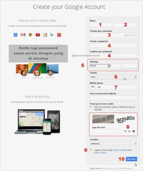 cara daftar email baru di gmail
