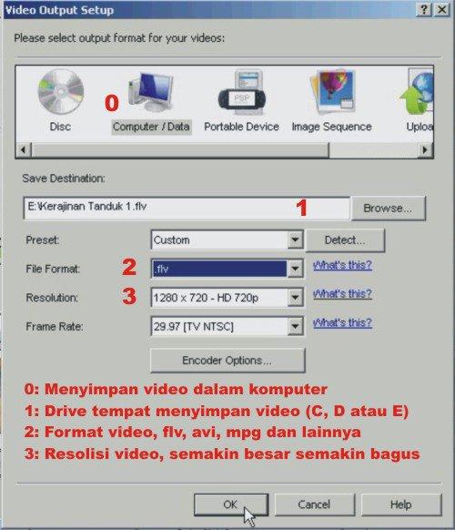 cara save video dengan videopad