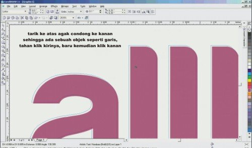 Cara membuat teks timbul di corel draw