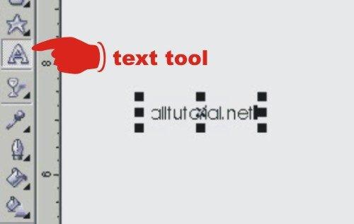 membuat teks dengan corel