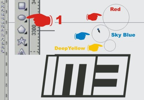 tutorial corel draw - membuat logo m3 indosat