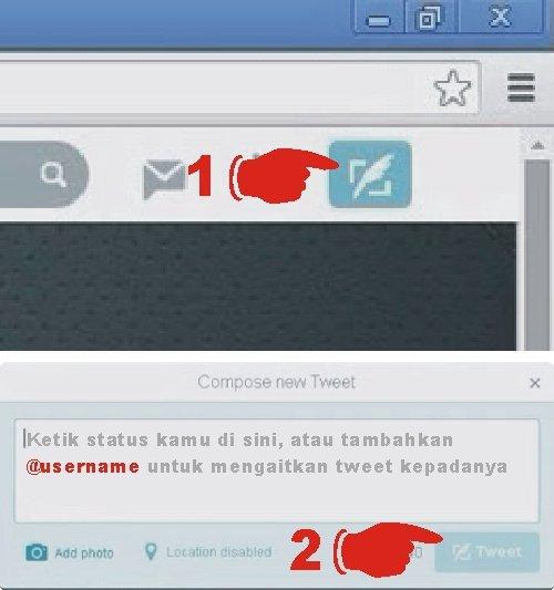 Cara update status atau tweet di twitter