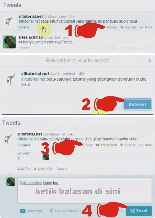 Cara membalas atau replay tweet sekaligus cara retweet