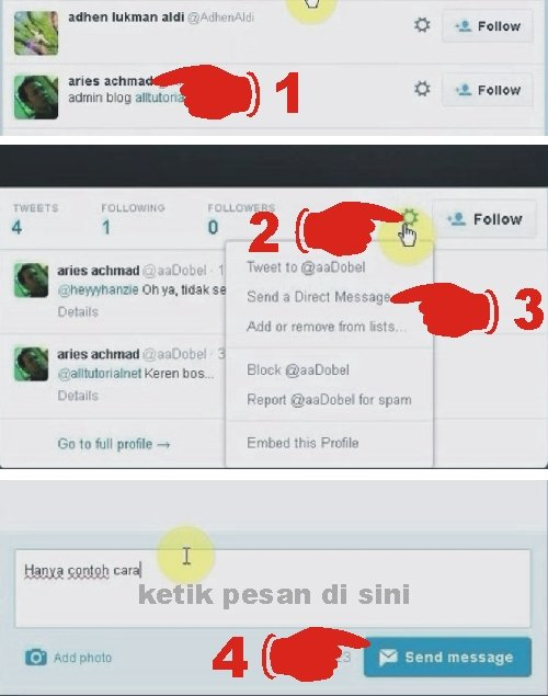 Cara mengirim pesan atau direct message di twitter
