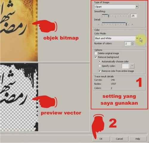 Bagaiamana cara merubah foto bitmap menjadi vector