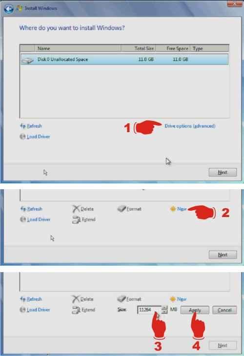 Mengatur partisi hardisk saat install windows 7