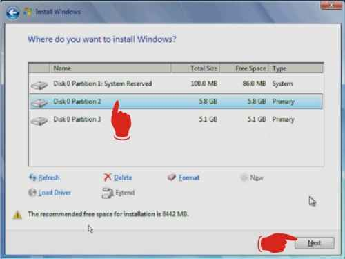 Memilh partisi hard disk saat install windows 7