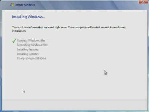 Proses copy file windows 7 ke drive C