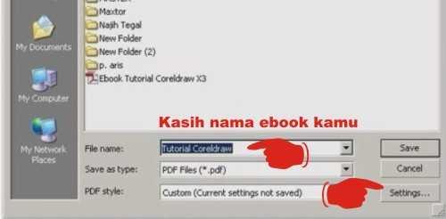 Setingan untuk memebuat ebook dengan coreldraw