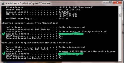 Gambar tampilan Mac Addres komputer