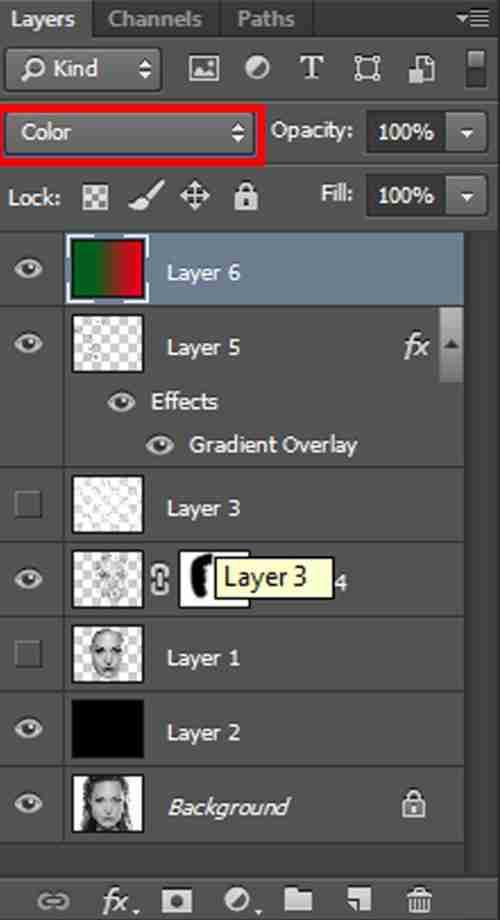 Langkah ketiga belas Cara membuat efek Tipografi pada wajah dengan Adobe Photoshop