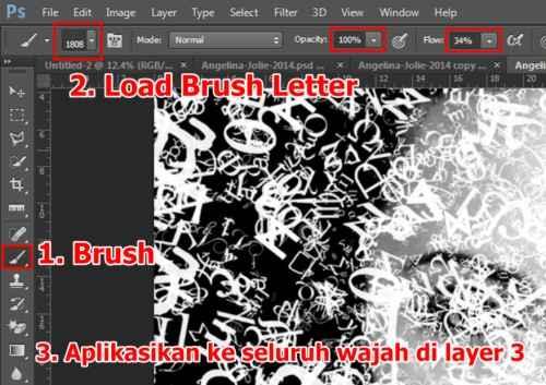 Langkah kelima Cara membuat efek Tipografi pada wajah dengan Adobe Photoshop