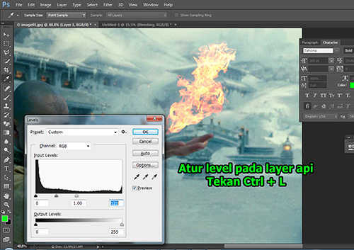 langkah ke sembilan Cara Membuat Efek Api dengan Photoshop