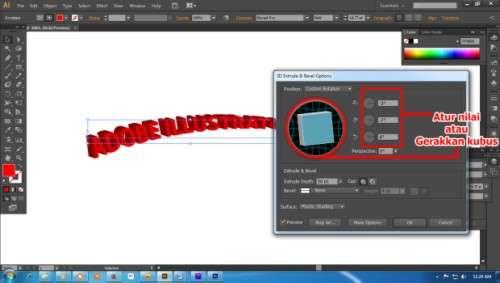 Langkah keempat Cara Membuat Teks 3D dengan Adobe Illustrator