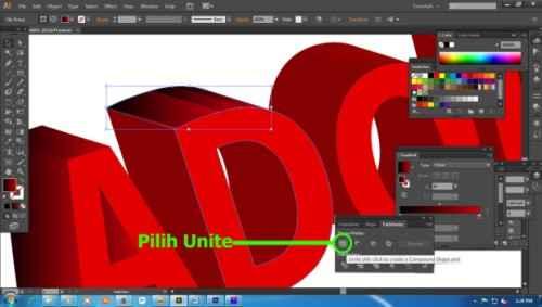 Langkah keenam Cara Membuat Teks 3D dengan Adobe Illustrator
