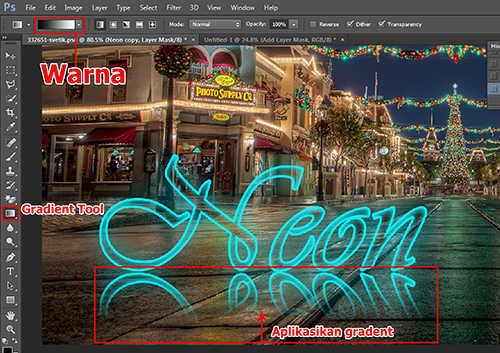 langkah ke sembilan Cara Membuat Efek Neon Pada Teks Dengan Photoshop