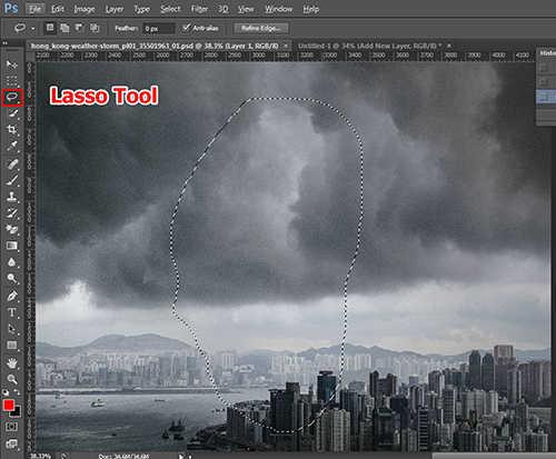 langkah ke dua Cara Membuat Efek Petir Dengan Photoshop