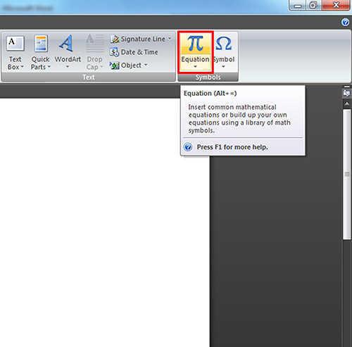 langkah pertama Cara Menulis Rumus di Microsoft Word 2007