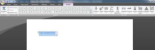 langkah ke dua Cara Menulis Rumus di Microsoft Word 2007