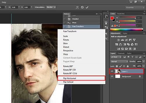 langkah ke lima Cara Membuat Efek Cermin Dengan Photoshop