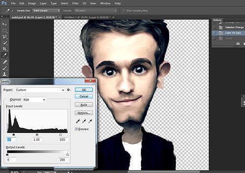 langkah ke delapan belas Membuat Karikatur Menggunakan Photoshop