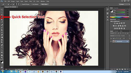 Langkah pertama cara seleksi rambut dengan photoshop