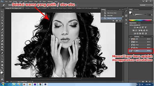 Langkah kelima cara seleksi rambut dengan photoshop