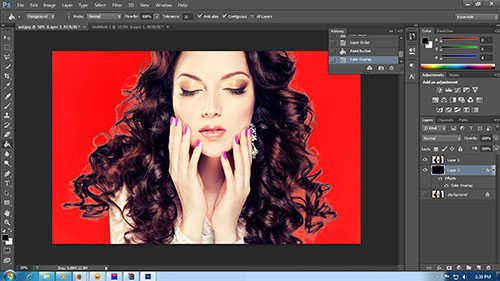 Hasil seleksi rambut dengan Adobe Photoshop