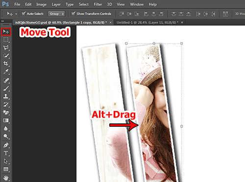 Langkah kesebelas membuat efek vertical panel photo dengan Adobe Photoshop