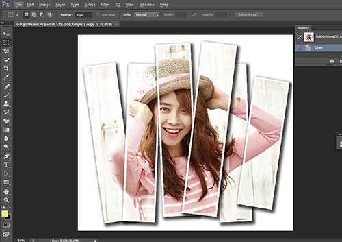 Langkah ketiga belas membuat efek vertical panel photo dengan Adobe Photoshop