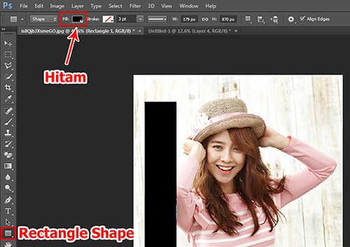 Langkah keempat membuat efek vertical panel photo dengan Adobe Photoshop