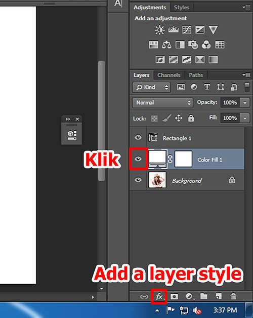 Langkah keenam membuat efek vertical panel photo dengan Adobe Photoshop