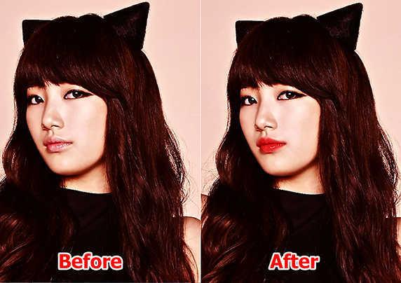 hasil mengganti warna bibir dengan photoshop