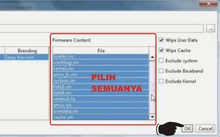 Langkah ketujuh Cara Flash Sony Xperia W8 (E15i) dengan Firmware X8 (E16i)