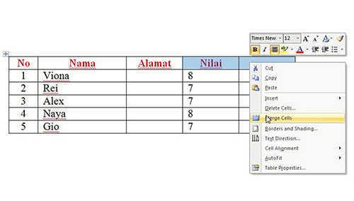 langkah ke sebelas Cara Membuat Tabel Di Microsoft Word