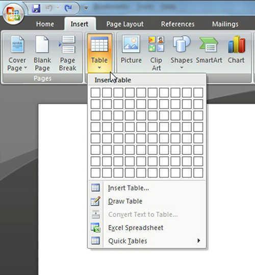 langkah ke dua Cara Membuat Tabel Di Microsoft Word