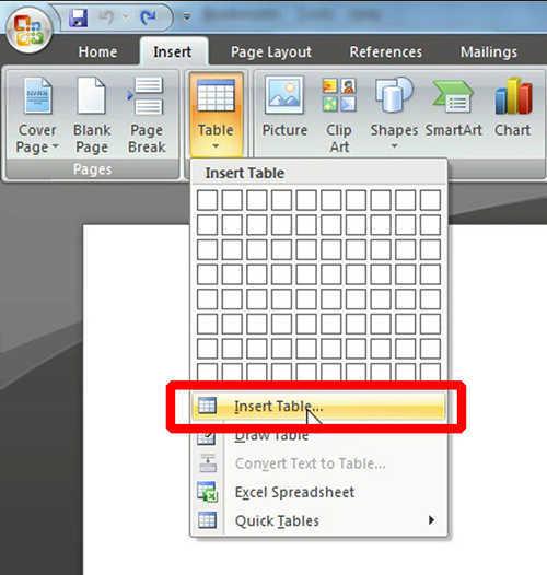 langkah ke tiga Cara Membuat Tabel Di Microsoft Word
