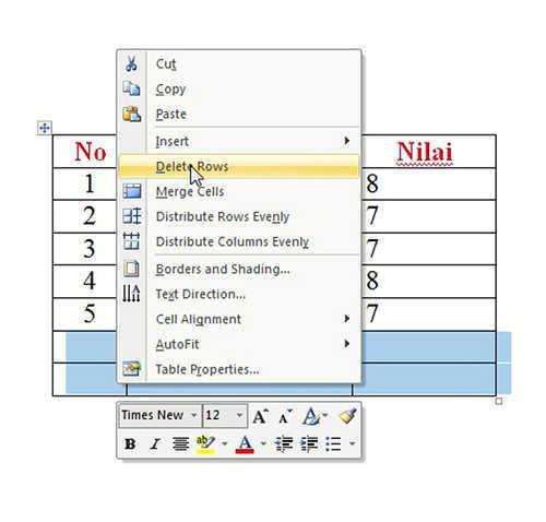 langkah ke delapan Cara Membuat Tabel Di Microsoft Word