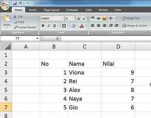langkah pertama membuat tabel excel