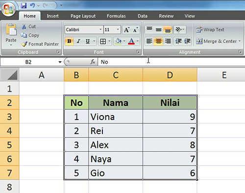 langkah ke lima membuat tabel excel
