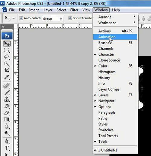 langkah ke tiga Cara membuat GIF dengan photoshop