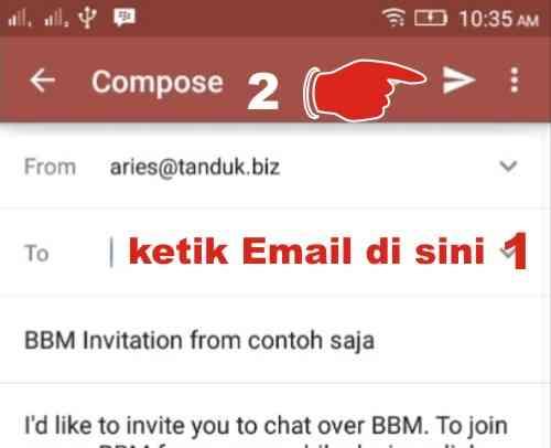 Invite kontak BBM via email