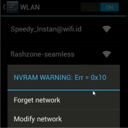 Cara Mengatasi WiFi NVRAM WARNING: Err = 0x10