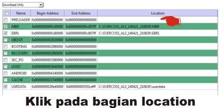 Langkah ketiga Mengatasi file location kosong (tidak tercentang) di SP Flash Tool