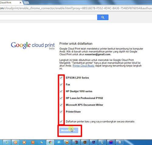 langkah ke delapan cara print dari hp android dengan cloud print