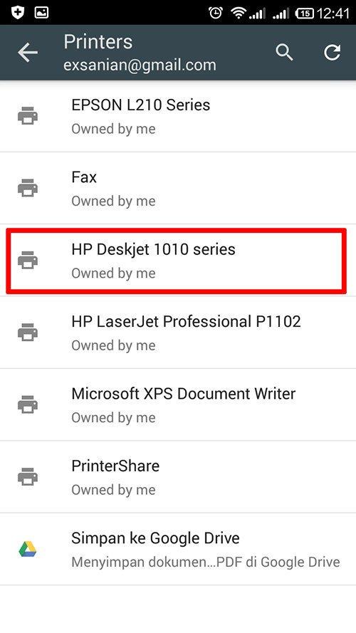 langkah ke sepuluh cara print dari hp android dengan cloud print