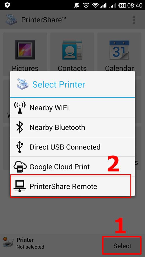 langkah keenam cara print dari hp android dengan printershare