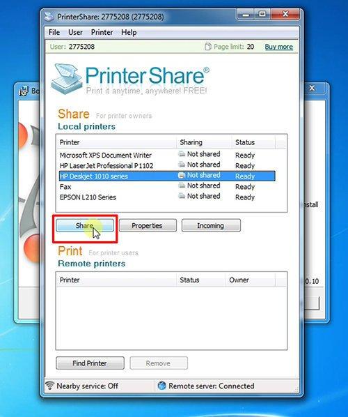 langkah kelima cara print dari hp android dengan printershare